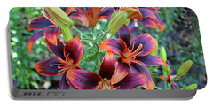 Purple And Orange Tiger Lily Portable Battery Charger