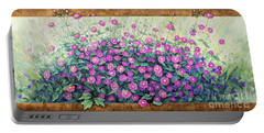 Purple And Pink Flowers Portable Battery Charger