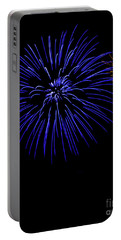 Portable Battery Charger featuring the photograph Purple And Yellow Fireworks by Suzanne Luft