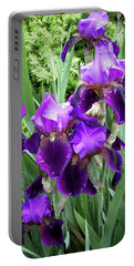Purple Bearded Irises Portable Battery Charger by Penny Lisowski