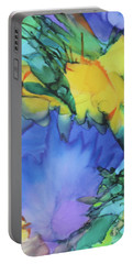 Portable Battery Charger featuring the painting Purple Bird Of Paradise by Deborah Boyd