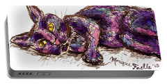 Portable Battery Charger featuring the painting Purple Cat by Monique Faella