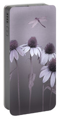 Purple Coneflowers And Dragonfly Portable Battery Charger