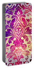 Purple Damask Pattern Portable Battery Charger
