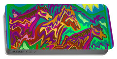 Purple Feathered Horses Portable Battery Charger