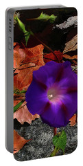 Purple Flower Autumn Leaves Portable Battery Charger