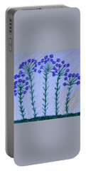 Purple Flowers On Long Stems Portable Battery Charger