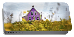 Purple House And Yellow Flowers Portable Battery Charger