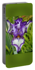 Purple Iris Art Portable Battery Charger by Rebecca Margraf