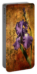 Purple Iris At Sunset Portable Battery Charger by Bellesouth Studio