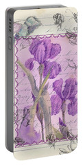 Portable Battery Charger featuring the drawing Purple Iris by Cathie Richardson