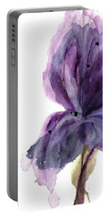 Purple Iris Portable Battery Charger by Dawn Derman
