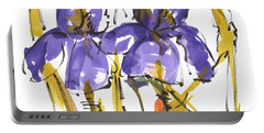 Purple Iris Garden Flowers Portable Battery Charger