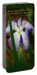 Purple Iris In Morning Dew Portable Battery Charger by Marie Hicks