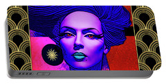 Portable Battery Charger featuring the digital art Purple Lady - Deco by Chuck Staley