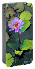 Purple Lilly With Lilly Pads Portable Battery Charger
