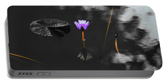 Purple Lily In Black And White Portable Battery Charger