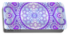 Portable Battery Charger featuring the digital art Purple Lotus Mandala by Tammy Wetzel
