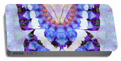 Portable Battery Charger featuring the painting Purple Mandala Butterfly Art By Sharon Cummings by Sharon Cummings