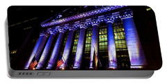 Purple New York Stock Exchange At Night - Impressions Of Manhattan Portable Battery Charger