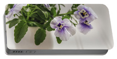 Portable Battery Charger featuring the photograph Purple Pansy Flowers by Kim Hojnacki
