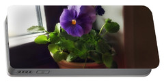 Purple Pansy On My Windowsill Portable Battery Charger
