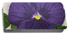 Portable Battery Charger featuring the painting Purple Pansy by Wendy Shoults