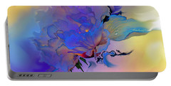 Portable Battery Charger featuring the painting Purple Passion Peony by Hanne Lore Koehler