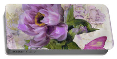 Purple Peony Portable Battery Charger