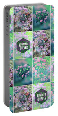 Purple Pink Hydrangea Geometric Patchwork Quilt Portable Battery Charger