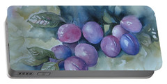 Portable Battery Charger featuring the painting Purple Plums by Elena Oleniuc