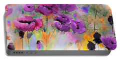Purple Poppy Passion Painting Portable Battery Charger