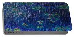 Purple Rain On Water Lilies Portable Battery Charger
