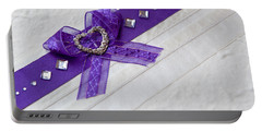 Purple Ribbon Heart Portable Battery Charger