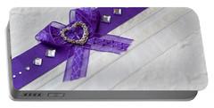 Purple Ribbon Heart Portable Battery Charger