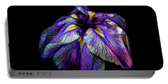 Purple Siberian Iris Flower Neon Abstract Portable Battery Charger