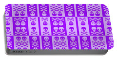 Purple Skull And Crossbones Pattern Portable Battery Charger by Roseanne Jones