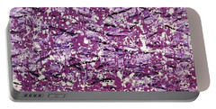 Portable Battery Charger featuring the painting Purple Splatter by Thomas Blood