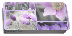 Portable Battery Charger featuring the photograph Purple Spring Bloom Collage. Shabby Chic Collection by Jenny Rainbow