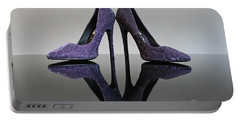 Portable Battery Charger featuring the photograph Purple Stiletto Shoes by Terri Waters