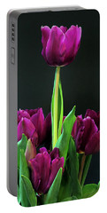 Portable Battery Charger featuring the photograph Purple Tulips On Black by Sheila Brown
