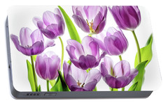 Portable Battery Charger featuring the photograph Purple Tulips by Rebecca Cozart