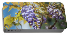 Portable Battery Charger featuring the photograph Purple Wisteria Flowers by Jenny Rainbow