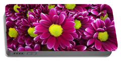 Purple Yellow Flowers Portable Battery Charger