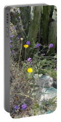 Purple Yellow Flowers Green Cactus Portable Battery Charger