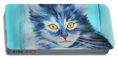 Portable Battery Charger featuring the painting Pussy Cat by Jutta Maria Pusl