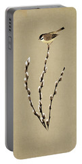Pussy Willow And Chickadee Portable Battery Charger
