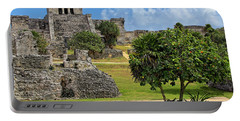 Portable Battery Charger featuring the photograph Pyramid El Castillo - Tulum Mayan Ruins - Mexico by Jason Politte