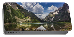 Pyramid Peak, Maroon Bells, And Crater Lake Panorama Portable Battery Charger