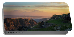 Qasakh Gorge And Ararat Mountain At Golden Hour Portable Battery Charger